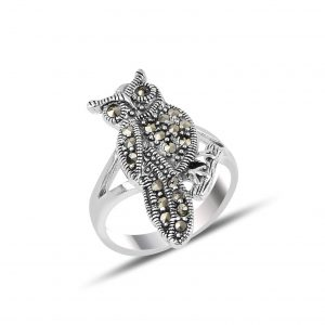 Markazit Taşlı Baykuş Gümüş Yüzük, Markazit Taşlı Bayan Yüzükleri  925 ayar gümüştür.