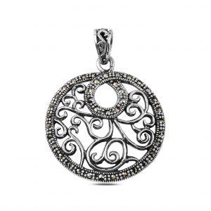 Markazit Taşlı Gümüş Kolye Ucu, Markazit Taşlı Kolye Uçları  925 ayar gümüştür.