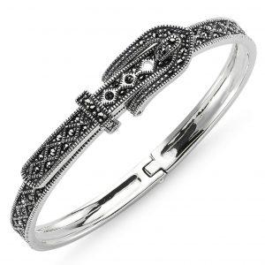 Markazit Taşlı Kemer Tokası Gümüş Kadın Bilezik, Markazit Taşlı Bilezikler  925 ayar gümüştür.