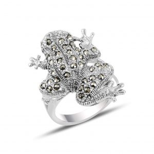 Markazit Taşlı Kurbağa Gümüş Yüzük, Markazit Taşlı Bayan Yüzükleri  925 ayar gümüştür.