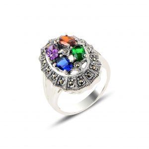 Markazit & Zirkon Taşlı Gümüş Yüzük, Zirkon Taşlı Bayan Yüzükleri  925 ayar gümüştür.