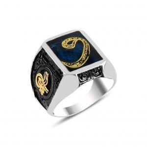 Mavi Mineli Vav & Tuğra Gümüş Erkek Yüzük, Otantik Erkek Yüzükleri  925 ayar gümüştür.