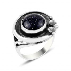 Mavi Yıldız Taşlı El İşi Gümüş Yüzük, Doğal Taşlı Bayan Yüzükleri Doğal Taş 925 ayar gümüştür.