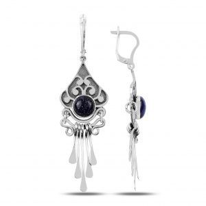 Mavi Yıldız Taşlı ve Sallantılı El İşi Gümüş Küpe, El İşi Doğal Taşlı Küpeler  925 ayar gümüştür.