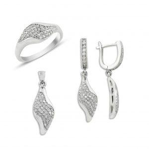 Mikro Mıhlama Zirkon Gümüş Takı Seti, Zirkon Taşlı Setler  925 ayar gümüştür.