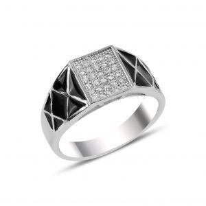 Mine & Zirkon Taşlı Gümüş Erkek Yüzük, Zirkon Taşlı Erkek Yüzükleri Rodyum Kaplama 925 ayar gümüştür.