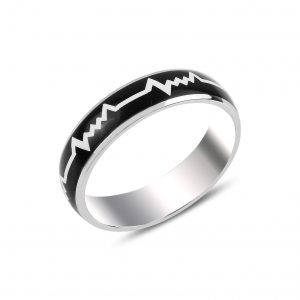 Mineli Kalp Ritmi Gümüş Alyans, Taşsız Erkek Yüzükleri  925 ayar gümüştür.