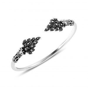 Oksitli Gümüş Kadın Bilezik, Taşsız Bilezikler  925 ayar gümüştür.