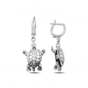 Oksitli Sallantılı Kaplumbağa Gümüş Küpe, Taşsız Küpeler  925 ayar gümüştür.