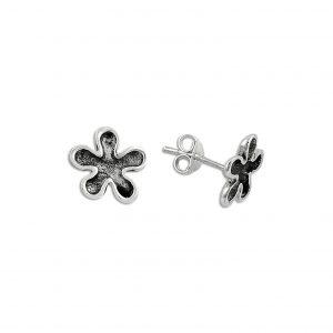 Oksitli Taşsız Çiçek Gümüş Küpe, Taşsız Küpeler  925 ayar gümüştür.