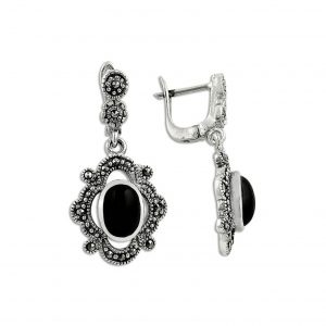 Oniks & Markazit Taşlı Gümüş Küpe, Markazit Taşlı Küpeler  925 ayar gümüştür.