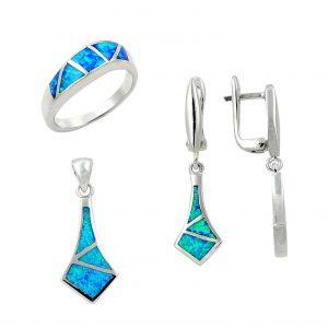 Opal Taşlı Gümüş Takı Seti, Opal Taşlı Setler  925 ayar gümüştür.