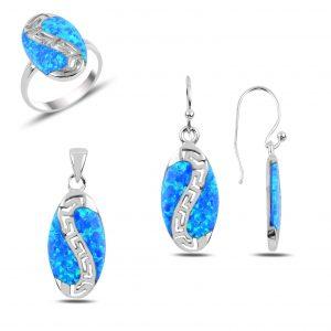 Opal Taşlı Gümüş Takı Seti, Opal Taşlı Setler Rodyum Kaplama 925 ayar gümüştür.