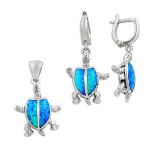 Opal Taşlı Kaplumbağa Gümüş Takı Seti, Opal Taşlı Setler  925 ayar gümüştür.