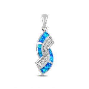 Opal & Zirkon Taşlı Gümüş Kolye Ucu, Zirkon Taşlı Kolye Uçları Rodyum Kaplama 925 ayar gümüştür.