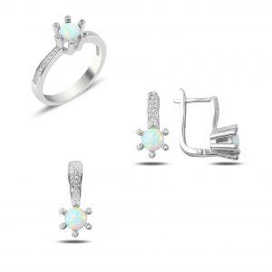 Opal & Zirkon Taşlı Gümüş Takı Seti, Opal Taşlı Setler Rodyum Kaplama 925 ayar gümüştür.