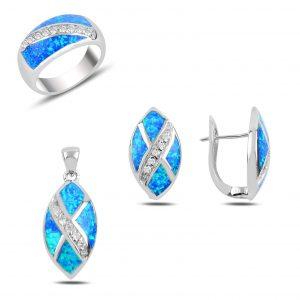 Opal & Zirkon Taşlı Gümüş Takı Seti, Zirkon Taşlı Setler Rodyum Kaplama 925 ayar gümüştür.