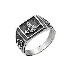 Osmanlı Tuğralı Gümüş Erkek Yüzük, Taşsız Erkek Yüzükleri  925 ayar gümüştür.