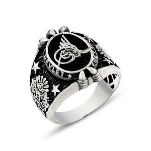 Osmanlı Tuğralı Kartal Pençesi Motifli Gümüş Erkek Yüzük, Taşsız Erkek Yüzükleri  925 ayar gümüştür.