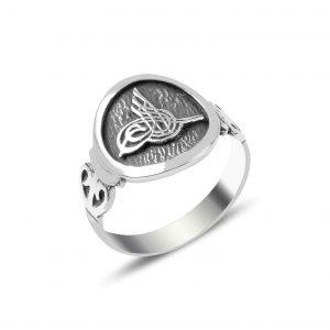Osmanlı Tuğrası Gümüş Erkek Yüzük, Taşsız Erkek Yüzükleri  925 ayar gümüştür.