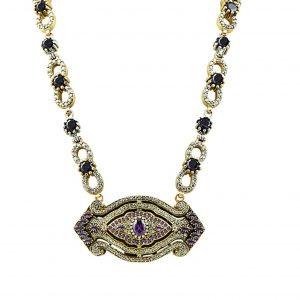 Otantik Gümüş Kolye, Zirkon Taşlı Kolyeler  925 ayar gümüştür.