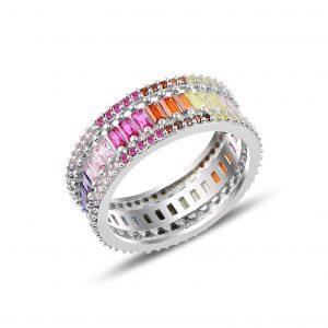 Renkli Baget Zirkon Taşlı Tamtur Gümüş Yüzük, Zirkon Taşlı Bayan Yüzükleri Rodyum Kaplama 925 ayar gümüştür.