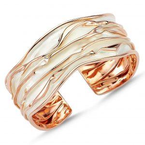 Rose Kaplama Altı Açık Buruşuk Gümüş Kadın Bilezik, Taşsız Bilezikler Rose Altın Kaplama 925 ayar gümüştür.