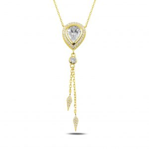 Sallantılı Damla Zirkon Taşlı Gümüş Kolye, Hayalet Kolyeler Altın Kaplama 925 ayar gümüştür.
