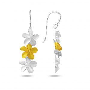 Sallantılı Mat Desenli Çiçek Gümüş Küpe, Taşsız Küpeler  925 ayar gümüştür.