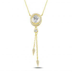 Sallantılı Oval Zirkon Taşlı Gümüş Kolye, Hayalet Kolyeler Altın Kaplama 925 ayar gümüştür.