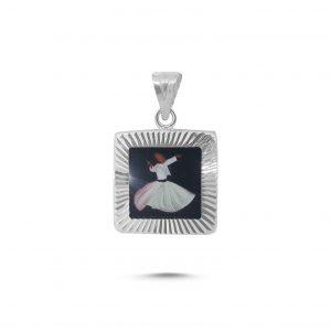 Semazen Resimli Kare Cevşen Gümüş Kolye Ucu, Cevşenler  925 ayar gümüştür.