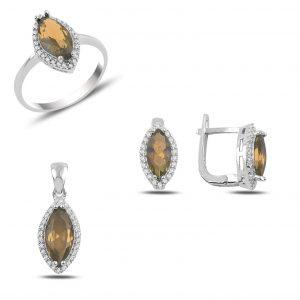 Sitrin Zirkon Taşlı Gümüş Takı Seti, Zirkon Taşlı Setler Rodyum Kaplama 925 ayar gümüştür.