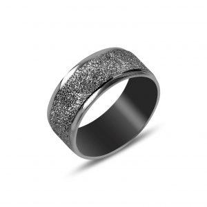 Siyah Rodajlı Kumlu Düz Sade Gümüş Alyans, Sade Alyanslar Rodyum Kaplama 925 ayar gümüştür.