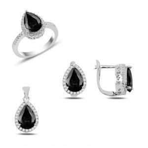 Siyah Zirkon Taşlı Gümüş Takı Seti, Zirkon Taşlı Setler Rodyum Kaplama 925 ayar gümüştür.