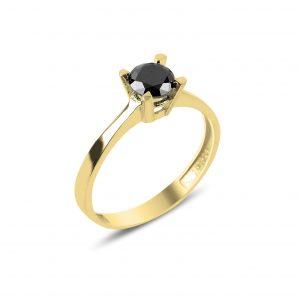 Siyah Zirkon Tektaş Gümüş Yüzük, Zirkon Taşlı Bayan Yüzükleri Altın Kaplama 925 ayar gümüştür.