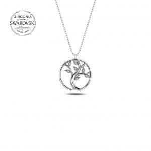 Swarovski Zirconia Taşlı Ağaç Gümüş Kolye, Hayalet Kolyeler Rodyum Kaplama 925 ayar gümüştür.