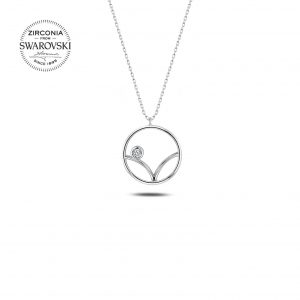 Swarovski Zirconia Taşlı Gümüş Kolye, Zirkon Taşlı Kolyeler Rodyum Kaplama 925 ayar gümüştür.