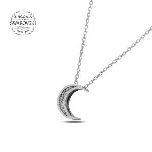 Swarovski Zirconia Taşlı Hilal Gümüş Kolye, Hayalet Kolyeler Rodyum Kaplama 925 ayar gümüştür.