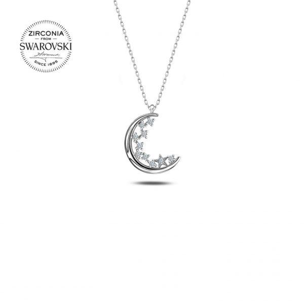 Swarovski Zirconia Taşlı Hilal Gümüş Kolye, Zirkon Taşlı Kolyeler Rodyum Kaplama 925 ayar gümüştür.