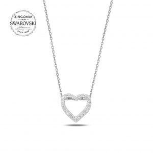 Swarovski Zirconia Taşlı Kalp Gümüş Kolye, Hayalet Kolyeler Rodyum Kaplama 925 ayar gümüştür.