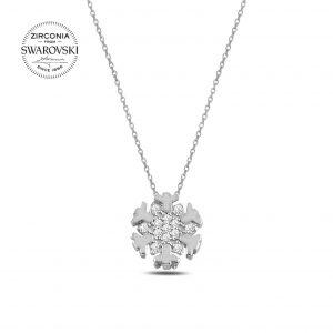 Swarovski Zirconia Taşlı Kar Tanesi Gümüş Kolye, Zirkon Taşlı Kolyeler Rodyum Kaplama 925 ayar gümüştür.