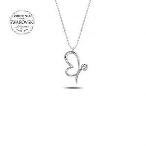 Swarovski Zirconia Taşlı Kelebek Gümüş Kolye, Zirkon Taşlı Kolyeler Rodyum Kaplama 925 ayar gümüştür.