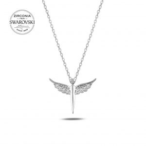 Swarovski Zirconia Taşlı Peri Gümüş Kolye, Hayalet Kolyeler Rodyum Kaplama 925 ayar gümüştür.