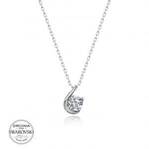 Swarovski Zirconia Taşlı Tektaş Gümüş Kolye, Hayalet Kolyeler Rodyum Kaplama 925 ayar gümüştür.