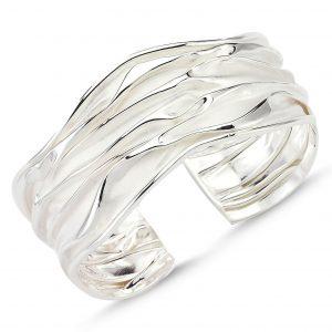 Taşsız Altı Açık Buruşuk Gümüş Kadın Bilezik, Taşsız Bilezikler  925 ayar gümüştür.
