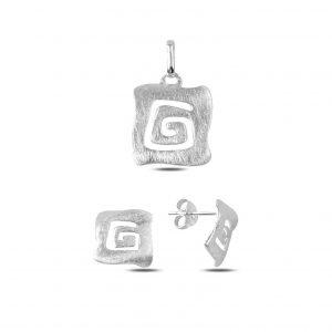 Taşsız Gümüş Takı Seti, Taşsız Setler Rodyum Kaplama 925 ayar gümüştür.