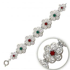 Telkari Gümüş Kadın Bileklik, Doğal Taşlı Bileklikler  925 ayar gümüştür.