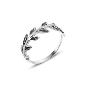 Yapraklı Taşsız Gümüş Yüzük, Taşsız Bayan Yüzükleri  925 ayar gümüştür.
