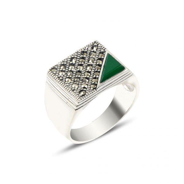 Yeşil Akik & Markazit Taşlı Gümüş Erkek Yüzük, Doğal Taşlı Erkek Yüzükleri Doğal Taş 925 ayar gümüştür.