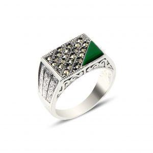 Yeşil Akik & Markazit Taşlı Gümüş Erkek Yüzük, Markazit Taşlı Erkek Yüzükleri Doğal Taş 925 ayar gümüştür.